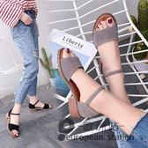 涼鞋/夏季羅馬粗跟平底女防滑露趾中跟魚口「歐洲站」