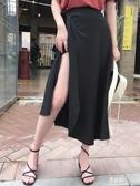 半身洋裝海邊度假沙灘裙女一片式繫帶緞面雪紡半身裙高腰顯瘦大擺裙長裙夏(快速出貨)