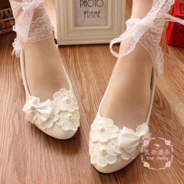 婚鞋 白色蕾絲水鉆綁帶 娘低跟鞋蝴蝶結平底鞋