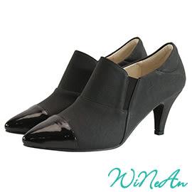 WINEAN薇妮安-異素材拼接中跟鞋(爵士黑)-WNA16300