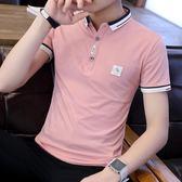 POLO衫—夏季潮流韓版襯衫領半袖POLO衫新款有帶領短袖T恤男翻領衣服 依夏嚴選