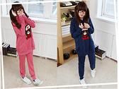 韓版可愛毛茸茸熊熊運動套裝/休閒套裝(粉/藍)