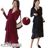 現+預 交叉V領滿版亮片蛋糕裙襬孕婦(可當哺乳衣)洋裝 兩色【CRH080807】孕味十足。孕婦裝