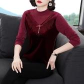 長袖T恤打底衫女士上衣半高領網紗長袖t恤女新款春季蕾絲性感打底衫女洋氣外穿NE237快時尚