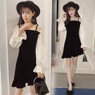 VK精品服飾 韓系時尚露肩拼接修身顯瘦長袖洋裝