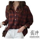 EASON SHOP(GW0515)韓版復古撞色格紋磨毛前排釦長版長袖襯衫外套女上衣服落肩寬鬆內搭衫顯瘦罩衫