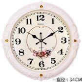 掛鐘客廳歐式時尚圓形鐘表創意電子石英鐘家庭靜音時鐘掛表 莫妮卡小屋 IGO