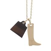 HERMES 愛馬仕 Pendentif Amulette Maroquinier PM 水牛角凱莉包及金銅凱莉靴項鏈