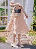 粉色高腰半身裙女韓版流蘇a字裙chic中長款裙子艾維朵