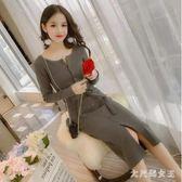 針織洋裝 秋冬季韓版女裝加厚純色打底中長款開叉包臀毛衣連身裙 df7156【大尺碼女王】