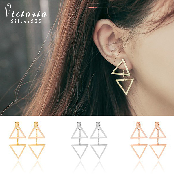S925純銀高雅大方雙三角形時尚耳環-維多利亞160438