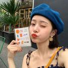 日系百搭藍色貝雷帽女可水洗紙草夏季薄款透氣畫家帽