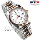 valentino coupeau范倫鐵諾 古柏 風尚晶鑽時刻指針錶 防水手錶 男錶 學生錶 白面x半玫瑰金 F12169TR白大