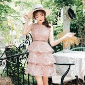 洋裝-無袖圓領蕾絲花紋蛋糕裙女連身裙73pu84[巴黎精品]