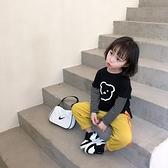 女童裝長袖t恤洋氣寶寶純棉外穿打底衫兒童拼接時髦上衣潮