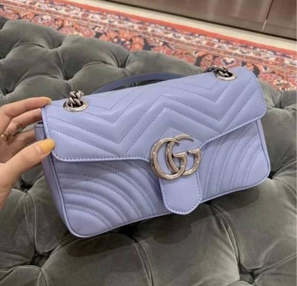 ■新品專櫃94折■ Gucci 全新真品 GG Marmont 小款 26cm 雙G釦飾肩背包 Paste Blue
