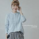 棉麻衫 優雅風琴壓褶雙層棉紗上衣 三色-小C館日系