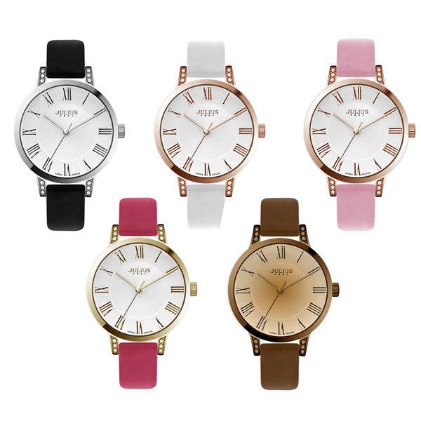 JULIUS 聚利時 亞林娜公主水鑽珠光錶帶腕錶-咖啡色/34mm 【JA-740E】