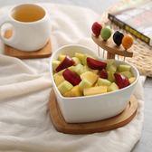 創意干果盤陶瓷沙拉碗帶果叉家用水果盤碗盆北歐用品餐具點心盤