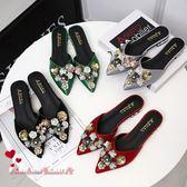包頭半拖鞋女款尖頭時尚外穿花朵涼拖鞋無后跟懶人鞋女 全店88折特惠