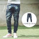 牛仔褲 深藍刷色小抓破口袋皮標縮口牛仔褲...