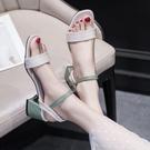 高跟鞋 一字扣帶配裙子涼鞋女夏2021年新款百搭仙女風粗跟中跟時裝高跟鞋 歐歐