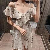 洋裝 裙子女夏2020年新款收腰顯瘦小個子荷葉邊氣質吊帶一字肩洋裝夏