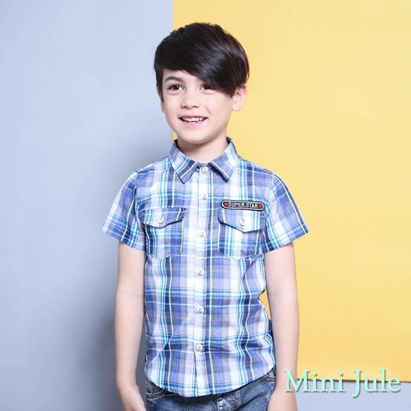 Mini Jule 男童 上衣 雙口袋字母貼布短袖襯衫(藍)