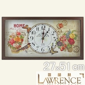 【Lawrence羅蘭絲】微醺情懷木框(玻璃面板)復古時鐘(27x51cm) 鄉村歐美 壁掛掛鐘 居家佈置 裝飾畫