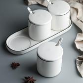 陶瓷帶蓋調味罐三件組 陶瓷罐 儲物罐 廚房收納 食品收納 儲物罐帶蓋【RS1041】