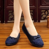 民族風蕾絲繡花鞋老北京布鞋中老年軟底媽媽平底鞋休閒鞋 週年慶降價