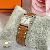 【雪曼國際精品】HERMES H-OUR經典H小型銀框款時尚腕錶駝色錶帶30x21mm~二手商品(9成新)