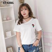 中大尺碼 斜領玫瑰刺繡T恤上衣~共兩色 - 適XL~5L《 63911 》CC-GIRL