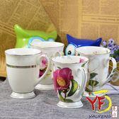 ★堯峰陶瓷★馬克杯專家 骨瓷韓式高腳馬克杯 山茶 玫瑰 芍藥 花 輕量杯