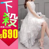 歐根紗中長款無袖性感連衣裙 連身裙 小禮服(S/M/L/XL)