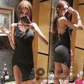 露背洋裝/春季新款夜店女裝性感低胸大褶皺不規則開叉吊帶連身裙潮