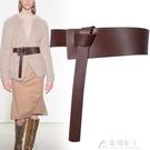 腰帶皮帶寬腰帶女士真皮裝飾腰封時尚百搭大衣束腰配連衣裙子西裝收 快速出貨