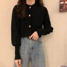泡泡袖上衣 2021春秋季新款泡泡長袖麻花毛衣開衫寬鬆上衣短款針織衫外套女裝寶貝計畫 上新