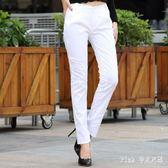 中大尺碼西褲褲子夏裝白色長褲女職業OL直筒小腳褲女 nm4552 【Pink 中大尺碼】