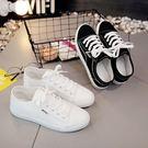 帆布鞋 港風街拍帆布鞋女鞋平底學生休閒鞋韓版百搭小白鞋白色板鞋【快速出貨八五折搶購】
