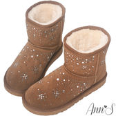 Ann'S夢幻燙鑽雪花真皮厚毛短筒雪靴-棕