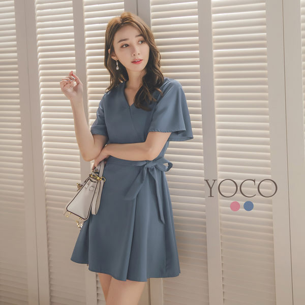 東京著衣【YOCO】YOCO-浪漫優雅V領附綁帶雪紡洋裝-S.M.L(182617)