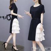 2018夏裝新款女ins超火冷淡風小黑裙中長名媛雪紡連身裙『韓女王』