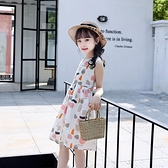 兒童洋裝 女童洋裝2020新款夏裝無袖吊帶裙洋氣女孩揹心裙碎花棉布裙子潮