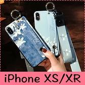 【萌萌噠】iPhone X (5.8吋) 萌家 腕帶支架復古花朵碎花保護殼 全包防摔軟殼 手機殼 附同款長短掛繩