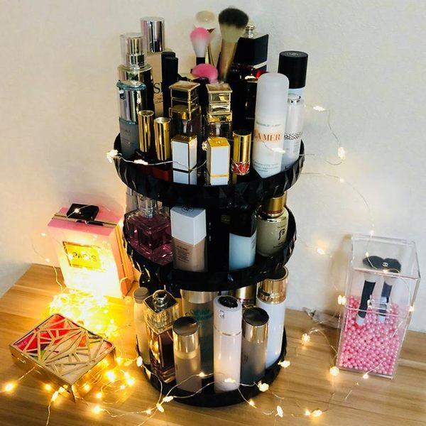 亞加麗加化妝品收納盒透明旋轉置物架桌面鑽石紋梳妝台儲物整理盒  全館免運
