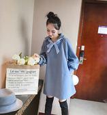 VK精品服飾 韓系蝴蝶結綁帶寬鬆長袖洋裝