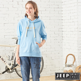 【JEEP】女裝 彩色LOGO刺繡長袖帽TEE (天空藍)
