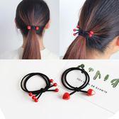 韓版 紅色 串珠 髮圈 紮頭髮 橡皮筋 髮繩 韓國 頭飾 髮飾 皮套 日韓 彈力 頭繩