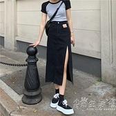 開叉牛仔裙女夏季薄款高腰設計感小眾包臀不規則中長款A字半身裙 小時光生活館